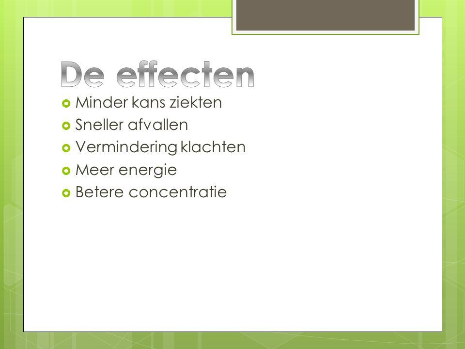  Minder kans ziekten  Sneller afvallen  Vermindering klachten  Meer energie  Betere concentratie