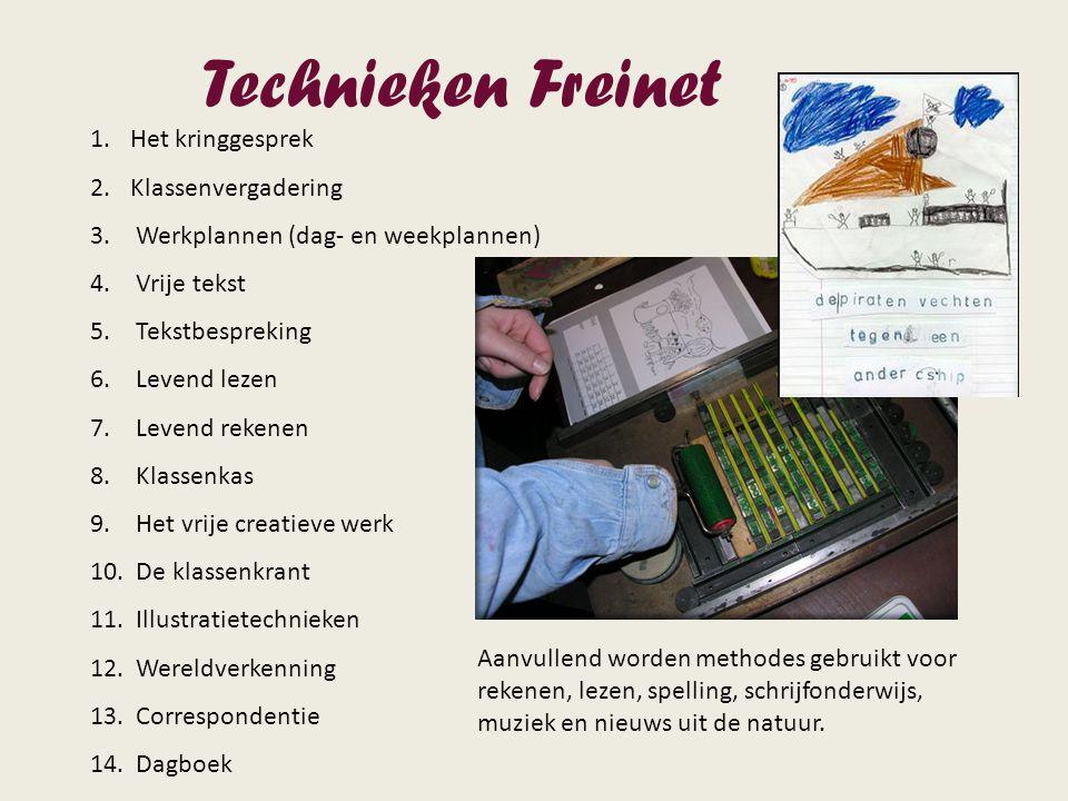 Technieken Freinet 1.Het kringgesprek 2.Klassenvergadering 3. Werkplannen (dag- en weekplannen) 4. Vrije tekst 5. Tekstbespreking 6. Levend lezen 7. L