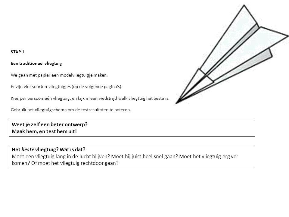 STAP 1 Een traditioneel vliegtuig We gaan met papier een modelvliegtuigje maken. Er zijn vier soorten vliegtuigjes (op de volgende pagina's). Kies per