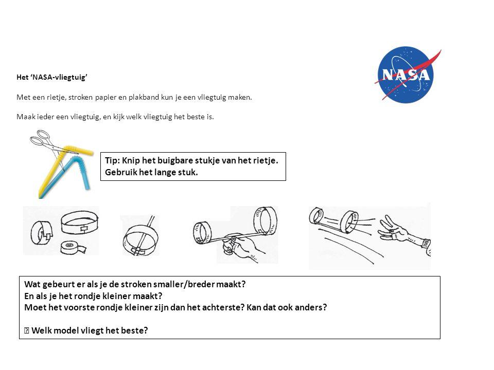 Het 'NASA-vliegtuig' Met een rietje, stroken papier en plakband kun je een vliegtuig maken. Maak ieder een vliegtuig, en kijk welk vliegtuig het beste
