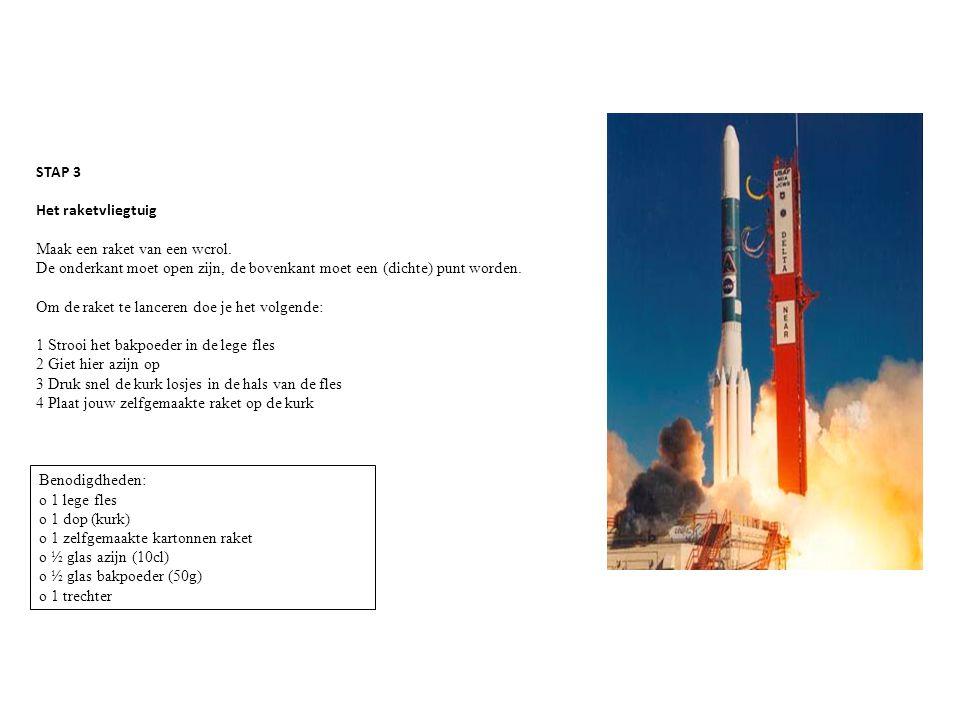 STAP 3 Het raketvliegtuig Maak een raket van een wcrol. De onderkant moet open zijn, de bovenkant moet een (dichte) punt worden. Om de raket te lancer