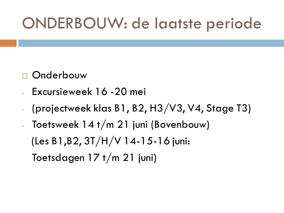 ONDERBOUW: de laatste periode  Onderbouw - Excursieweek 16 -20 mei - (projectweek klas B1, B2, H3/V3, V4, Stage T3) - Toetsweek 14 t/m 21 juni (Bovenbouw) (Les B1,B2, 3T/H/V 14-15-16 juni: Toetsdagen 17 t/m 21 juni)