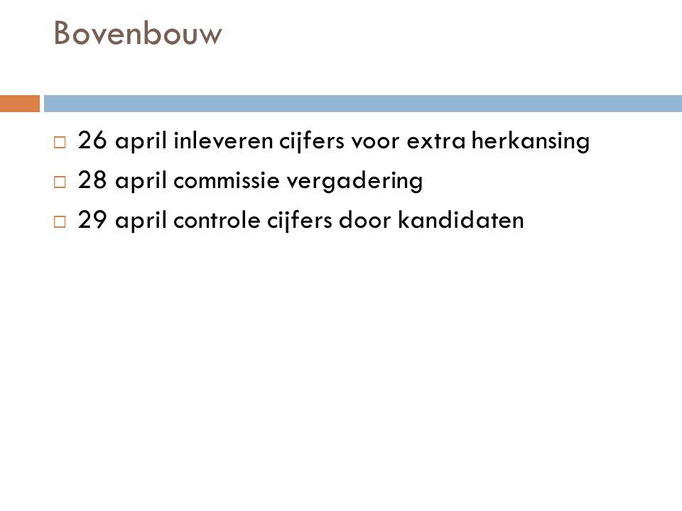 Bovenbouw  26 april inleveren cijfers voor extra herkansing  28 april commissie vergadering  29 april controle cijfers door kandidaten
