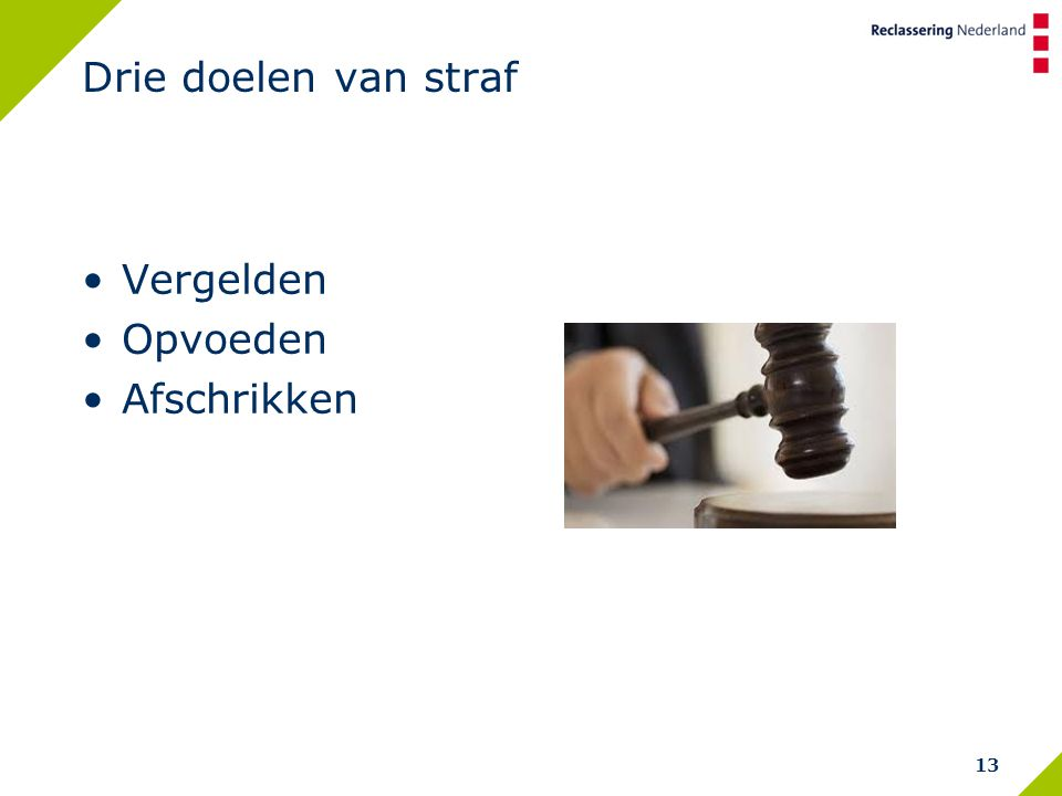Drie doelen van straf Vergelden Opvoeden Afschrikken 13