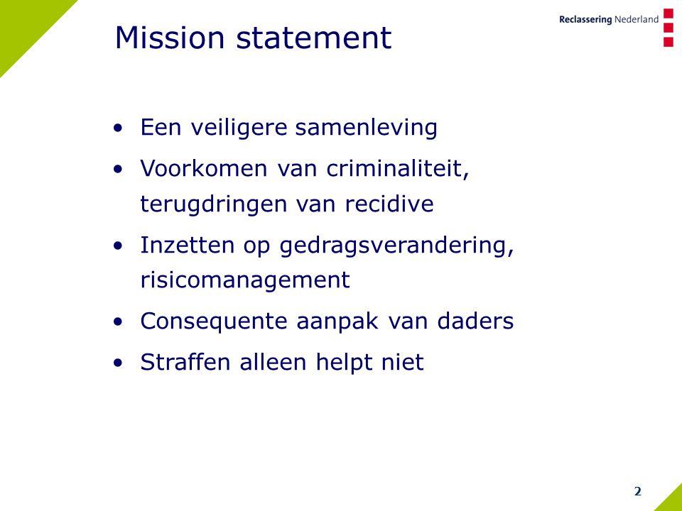 2 Mission statement Een veiligere samenleving Voorkomen van criminaliteit, terugdringen van recidive Inzetten op gedragsverandering, risicomanagement Consequente aanpak van daders Straffen alleen helpt niet