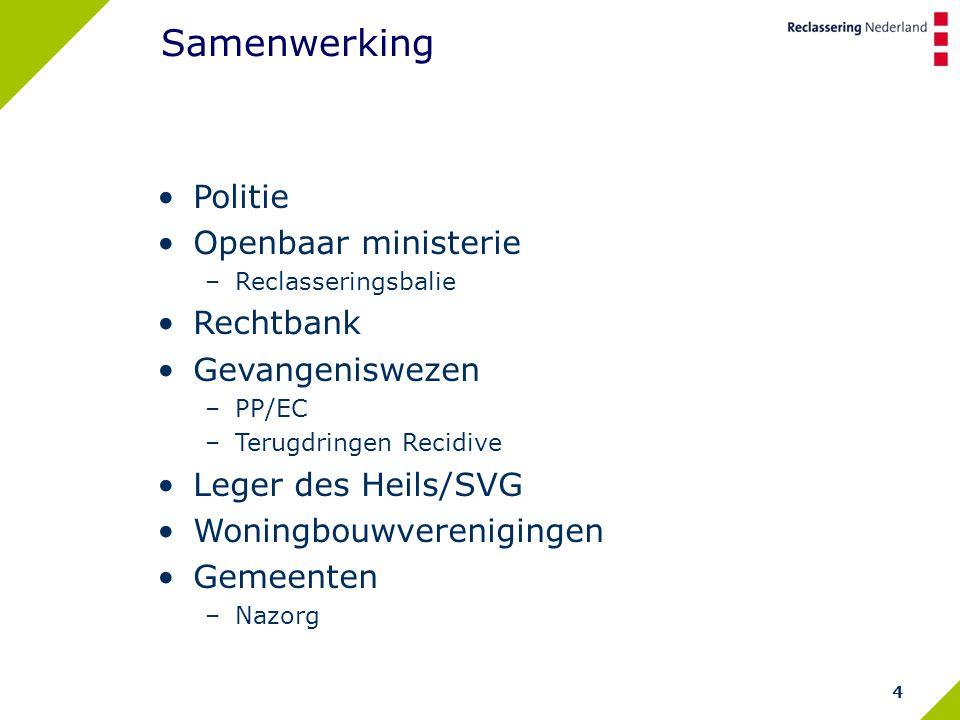 4 Samenwerking Politie Openbaar ministerie –Reclasseringsbalie Rechtbank Gevangeniswezen –PP/EC –Terugdringen Recidive Leger des Heils/SVG Woningbouwverenigingen Gemeenten –Nazorg