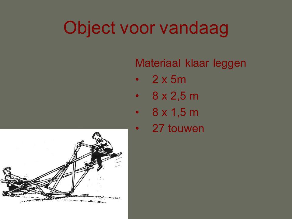 Object voor vandaag Materiaal klaar leggen 2 x 5m 8 x 2,5 m 8 x 1,5 m 27 touwen