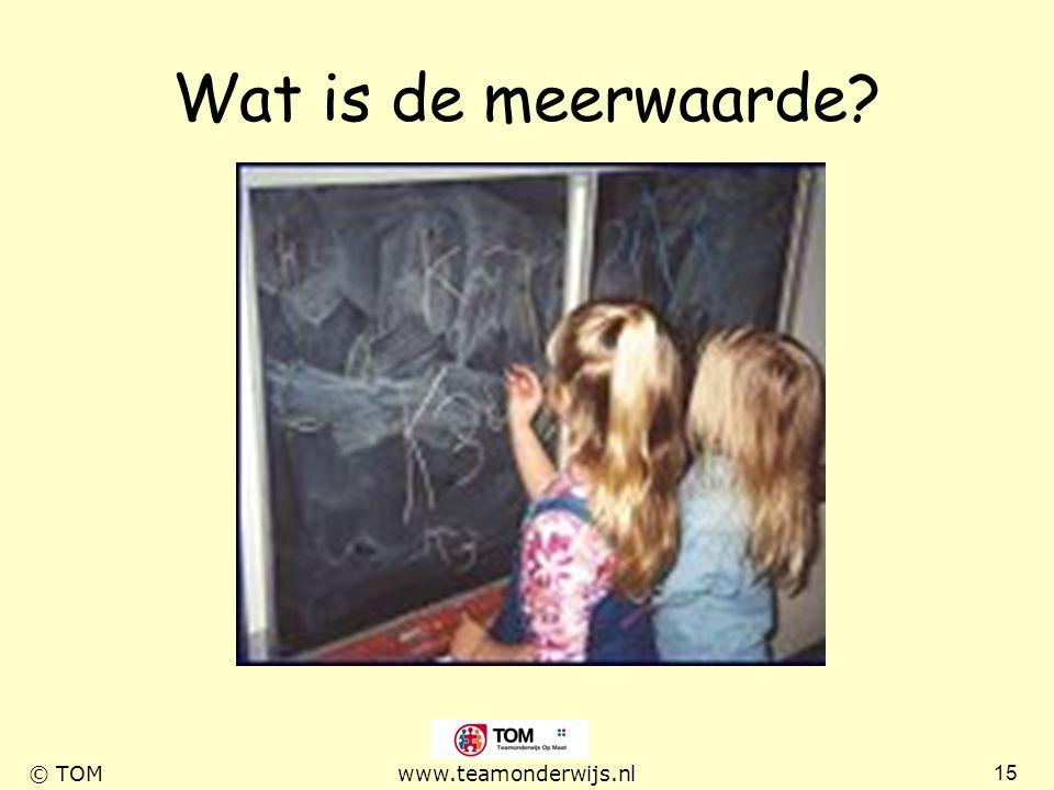 15 © TOMwww.teamonderwijs.nl Wat is de meerwaarde?