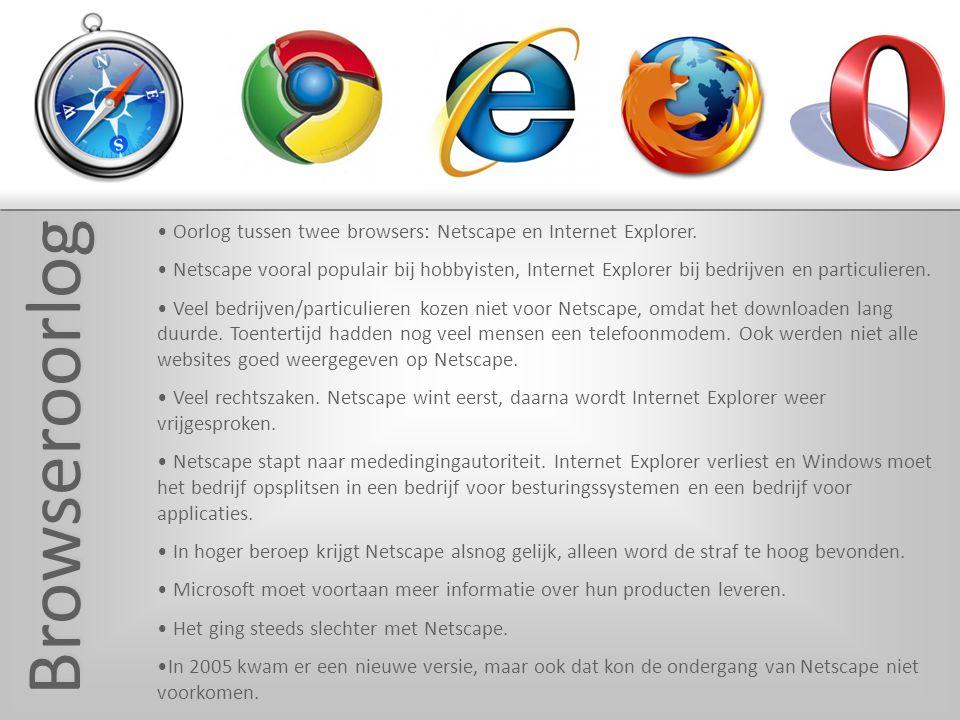 Browseroorlog Oorlog tussen twee browsers: Netscape en Internet Explorer.