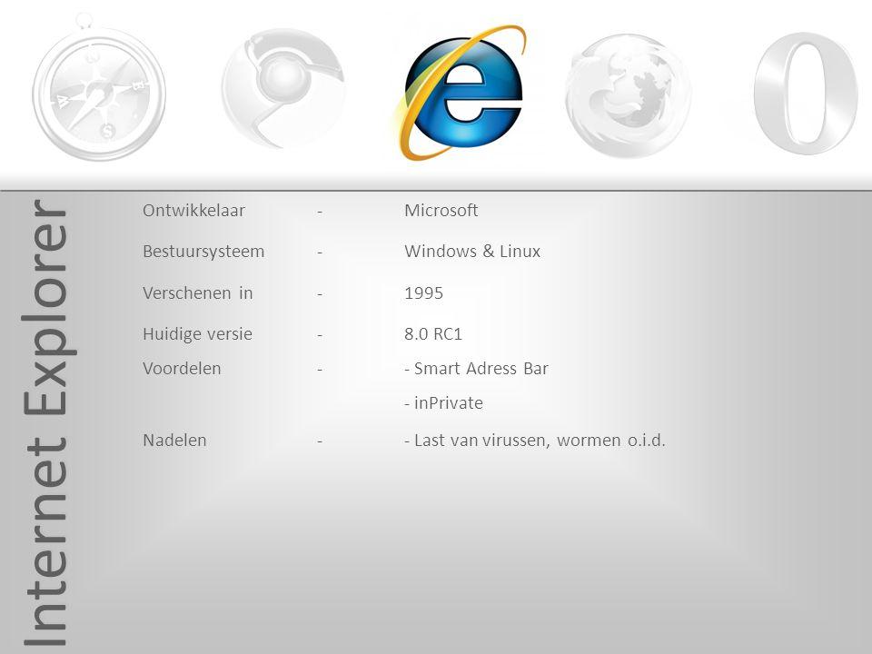 Internet Explorer Ontwikkelaar-Microsoft Bestuursysteem-Windows & Linux Verschenen in -1995 Huidige versie-8.0 RC1 Voordelen -- Smart Adress Bar - inPrivate Nadelen -- Last van virussen, wormen o.i.d.