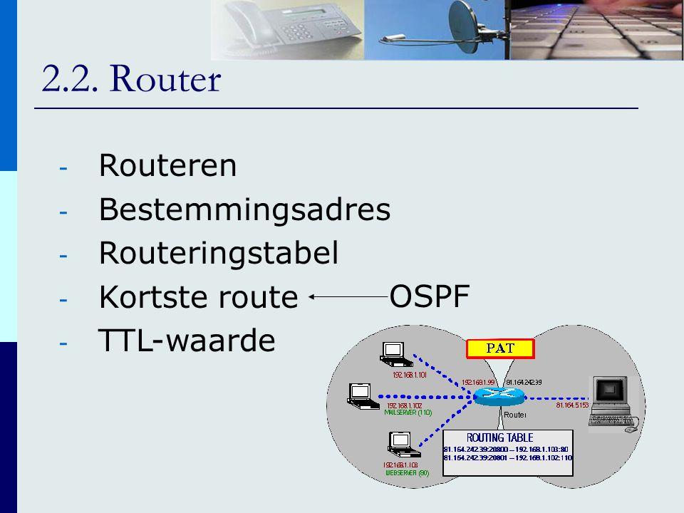 - Routeren - Bestemmingsadres - Routeringstabel - Kortste route - TTL-waarde OSPF