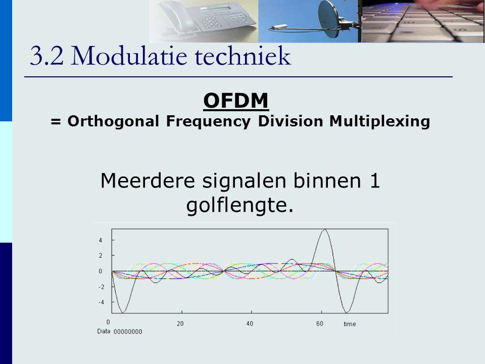 3.2 Modulatie techniek OFDM Meerdere signalen binnen 1 golflengte. = Orthogonal Frequency Division Multiplexing