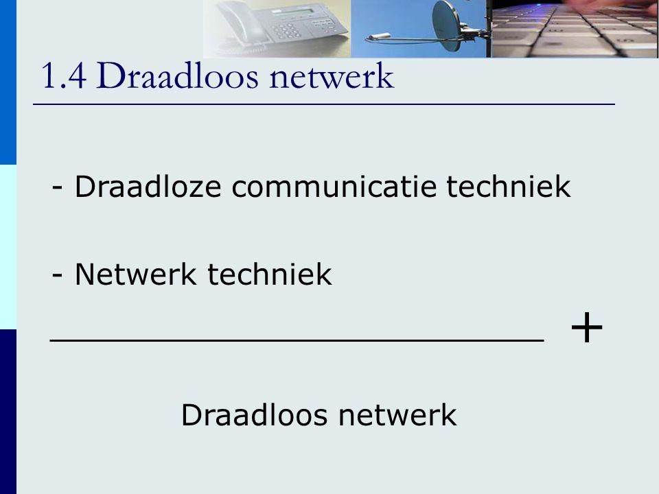 1.4 Draadloos netwerk - Draadloze communicatie techniek - Netwerk techniek Draadloos netwerk +