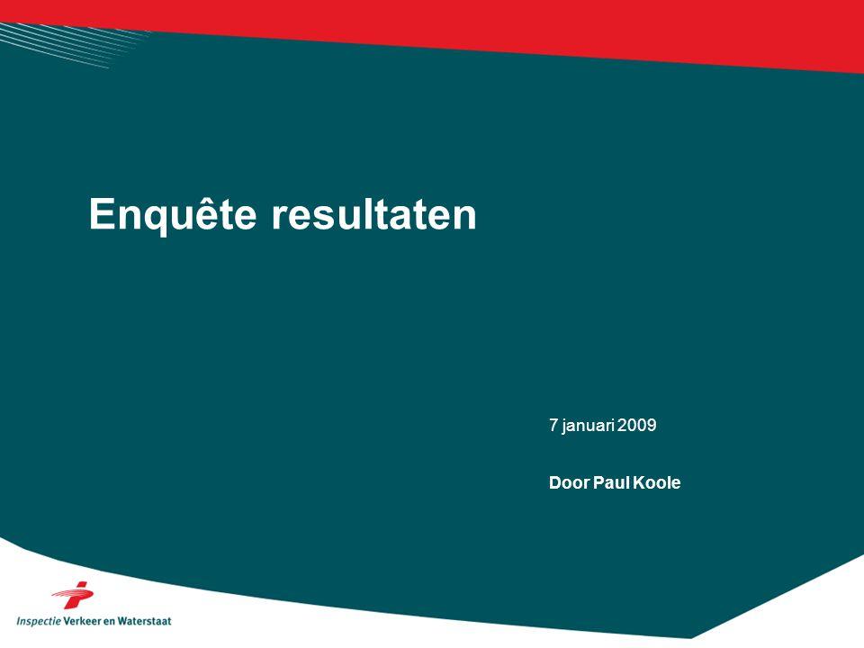 7 januari 2009 Enquête resultaten Door Paul Koole