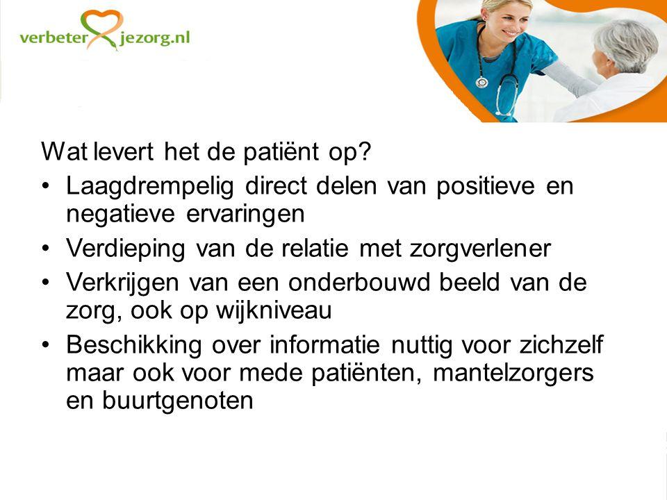 Wat levert het de patiënt op.