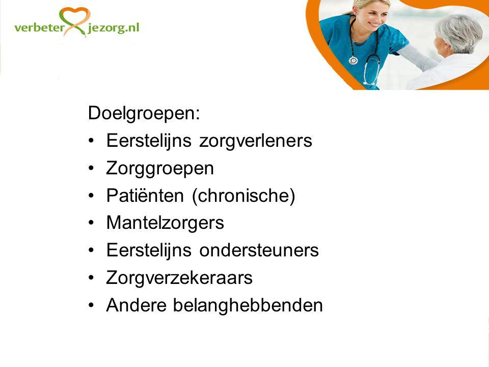 Doelgroepen: Eerstelijns zorgverleners Zorggroepen Patiënten (chronische) Mantelzorgers Eerstelijns ondersteuners Zorgverzekeraars Andere belanghebbenden
