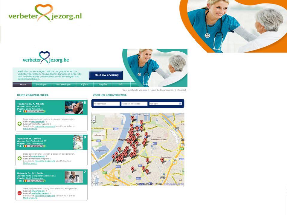 Resultaat Wijkgericht meten van klantervaringen en verbetervoorstellen in de eerstelijnszorg Open dialoog (digitaal) tussen patiënten en zorgverleners over de kwaliteit van zorg Voor zorgverleners en patiënten die vóór die dialoog zijn Gegevens beschikbaar per wijk