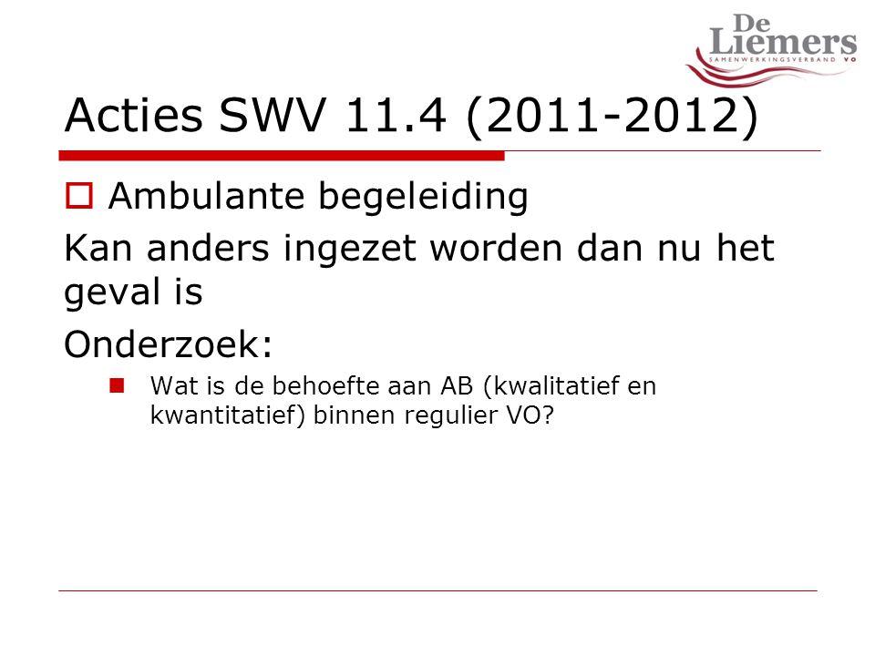 Acties SWV 11.4 (2011-2012)  Ambulante begeleiding Kan anders ingezet worden dan nu het geval is Onderzoek: Wat is de behoefte aan AB (kwalitatief en kwantitatief) binnen regulier VO