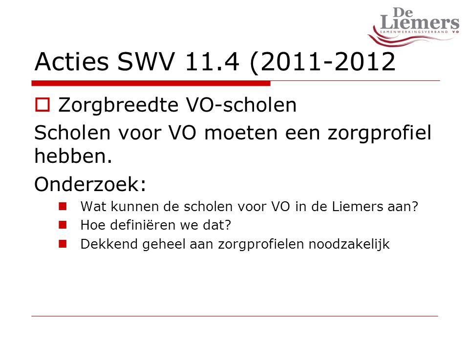Acties SWV 11.4 (2011-2012  Zorgbreedte VO-scholen Scholen voor VO moeten een zorgprofiel hebben.