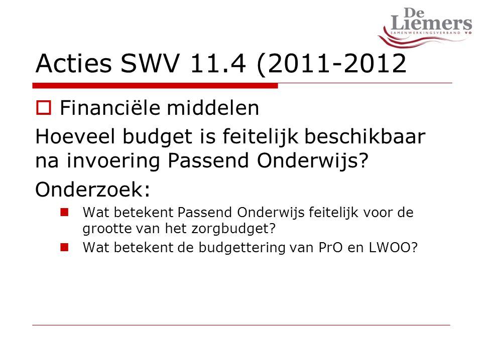 Acties SWV 11.4 (2011-2012  Financiële middelen Hoeveel budget is feitelijk beschikbaar na invoering Passend Onderwijs.