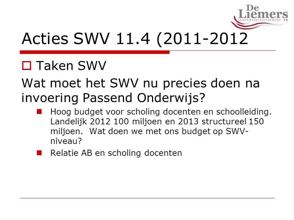 Acties SWV 11.4 (2011-2012  Taken SWV Wat moet het SWV nu precies doen na invoering Passend Onderwijs.