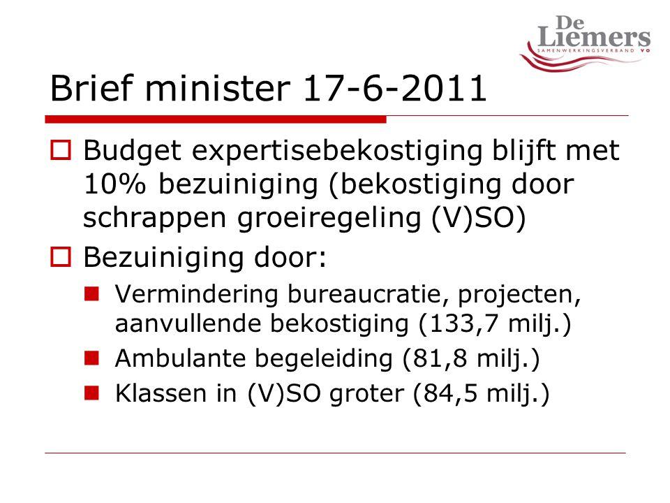 Brief minister 17-6-2011  Budget expertisebekostiging blijft met 10% bezuiniging (bekostiging door schrappen groeiregeling (V)SO)  Bezuiniging door: Vermindering bureaucratie, projecten, aanvullende bekostiging (133,7 milj.) Ambulante begeleiding (81,8 milj.) Klassen in (V)SO groter (84,5 milj.)