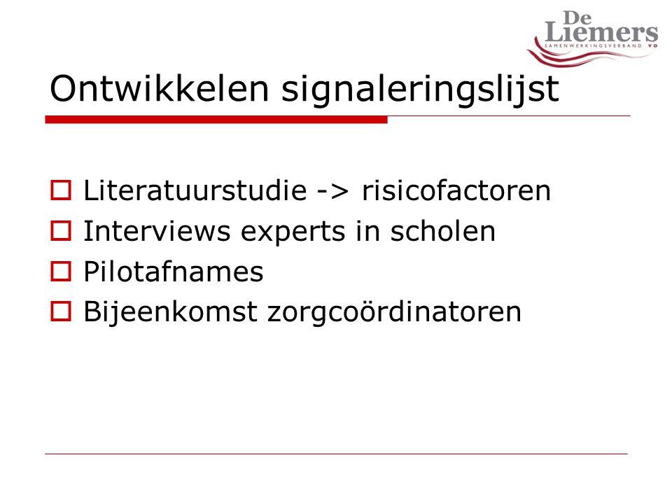 Ontwikkelen signaleringslijst  Literatuurstudie -> risicofactoren  Interviews experts in scholen  Pilotafnames  Bijeenkomst zorgcoördinatoren