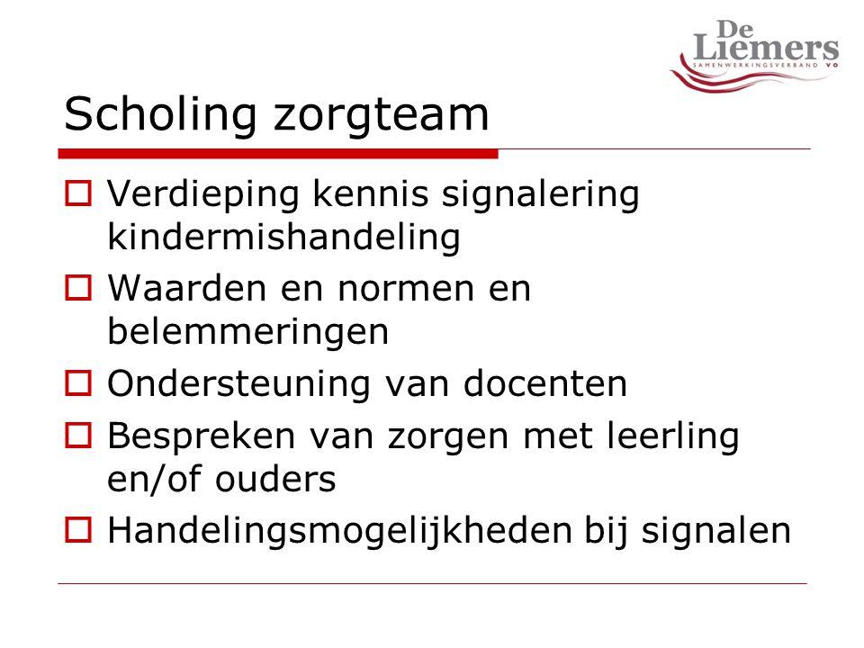 Scholing zorgteam  Verdieping kennis signalering kindermishandeling  Waarden en normen en belemmeringen  Ondersteuning van docenten  Bespreken van zorgen met leerling en/of ouders  Handelingsmogelijkheden bij signalen