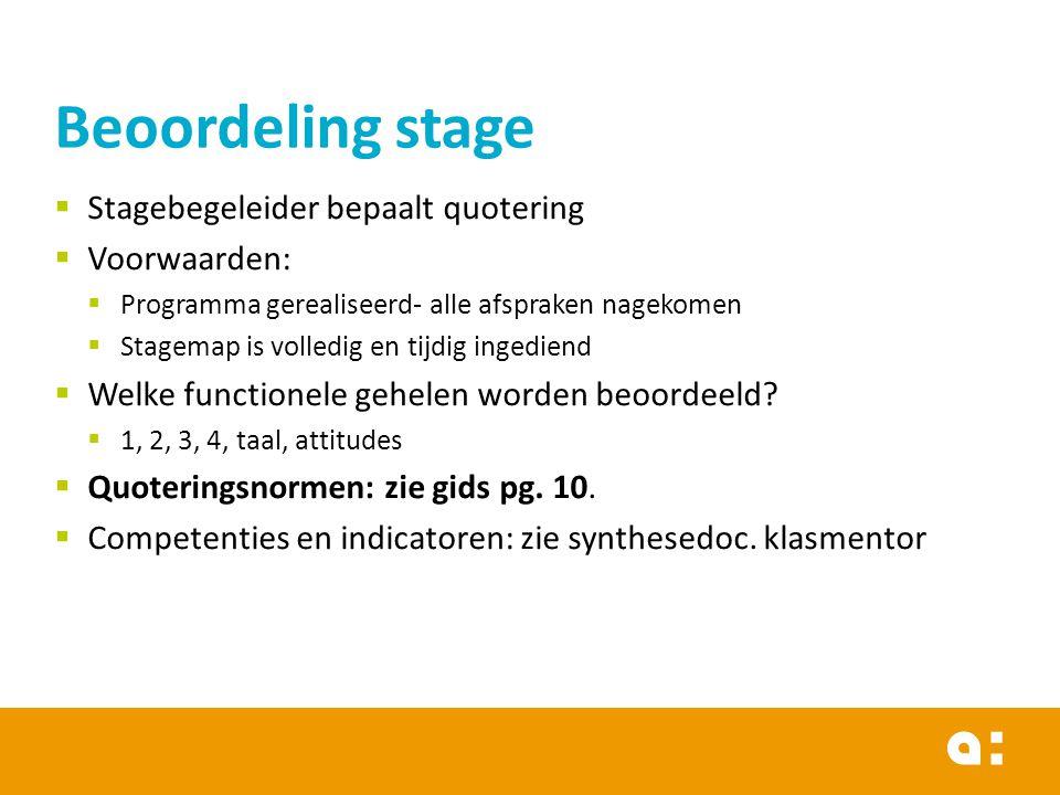  Stagebegeleider bepaalt quotering  Voorwaarden:  Programma gerealiseerd- alle afspraken nagekomen  Stagemap is volledig en tijdig ingediend  Welke functionele gehelen worden beoordeeld.