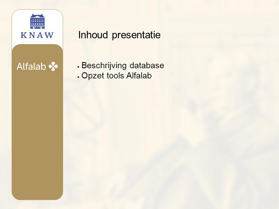 Database microtoponiemen  2000 kaarten  220.000 fiches met veldnamen  2000 records met ruwe metadata  Plaatsindeling fiches