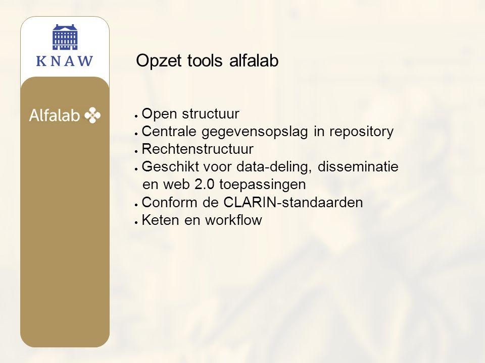 Opzet tools alfalab  Open structuur  Centrale gegevensopslag in repository  Rechtenstructuur  Geschikt voor data-deling, disseminatie en web 2.0 toepassingen  Conform de CLARIN-standaarden  Keten en workflow