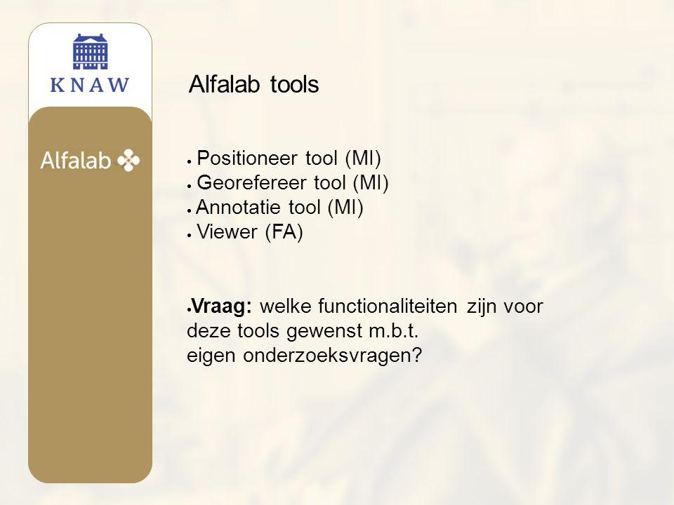 Alfalab tools  Positioneer tool (MI)  Georefereer tool (MI)  Annotatie tool (MI)  Viewer (FA)  Vraag: welke functionaliteiten zijn voor deze tools gewenst m.b.t.
