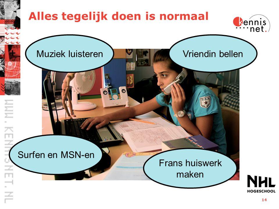 14 Muziek luisterenVriendin bellen Frans huiswerk maken Surfen en MSN-en Alles tegelijk doen is normaal