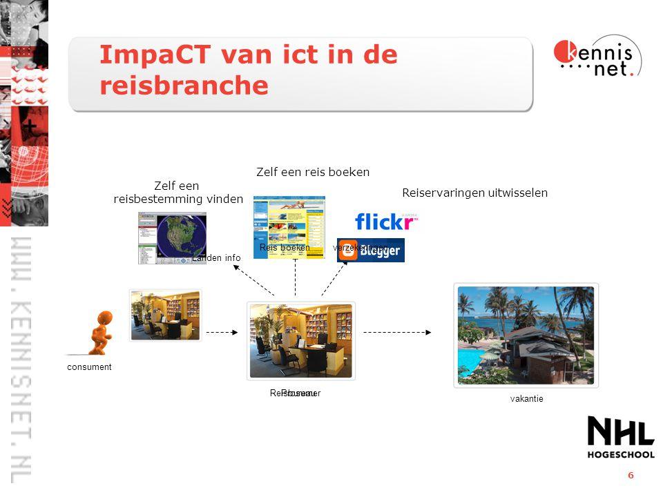 6 ImpaCT van ict in de reisbranche consument vakantie Reisbureau Landen info Reis boekenverzekeringen Prosumer Zelf een reisbestemming vinden Zelf een