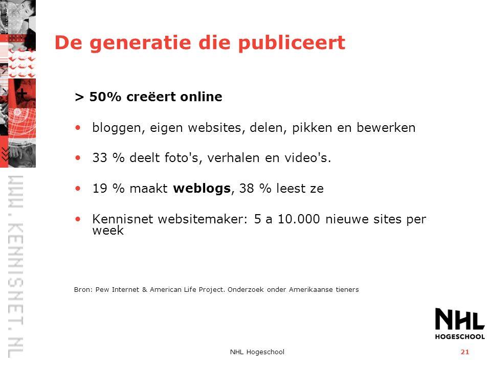 NHL Hogeschool21 De generatie die publiceert > 50% creëert online bloggen, eigen websites, delen, pikken en bewerken 33 % deelt foto's, verhalen en vi