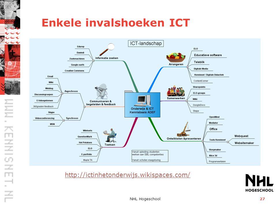 NHL Hogeschool27 Enkele invalshoeken ICT http://ictinhetonderwijs.wikispaces.com/