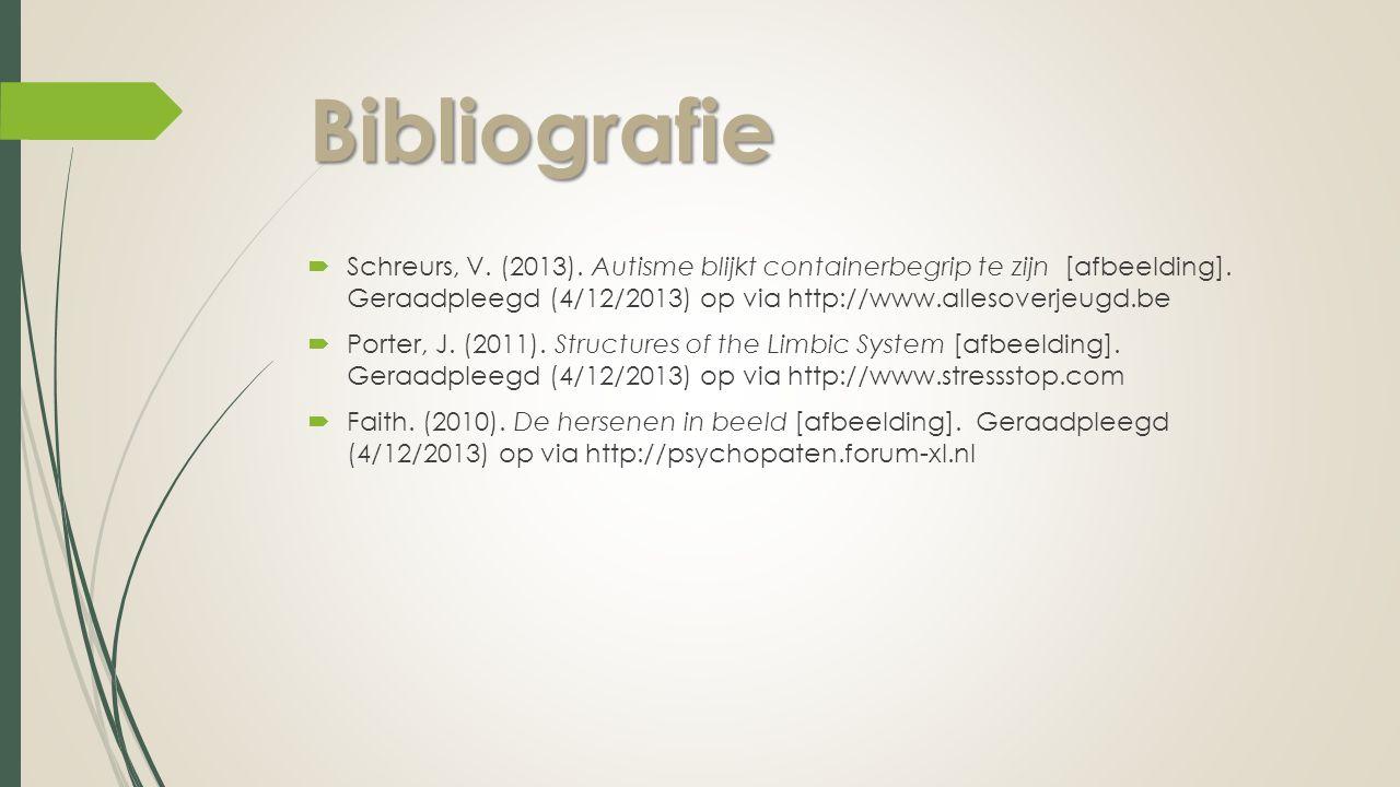 Bibliografie  Schreurs, V. (2013). Autisme blijkt containerbegrip te zijn [afbeelding]. Geraadpleegd (4/12/2013) op via http://www.allesoverjeugd.be