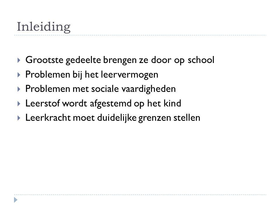 Inleiding  Grootste gedeelte brengen ze door op school  Problemen bij het leervermogen  Problemen met sociale vaardigheden  Leerstof wordt afgeste