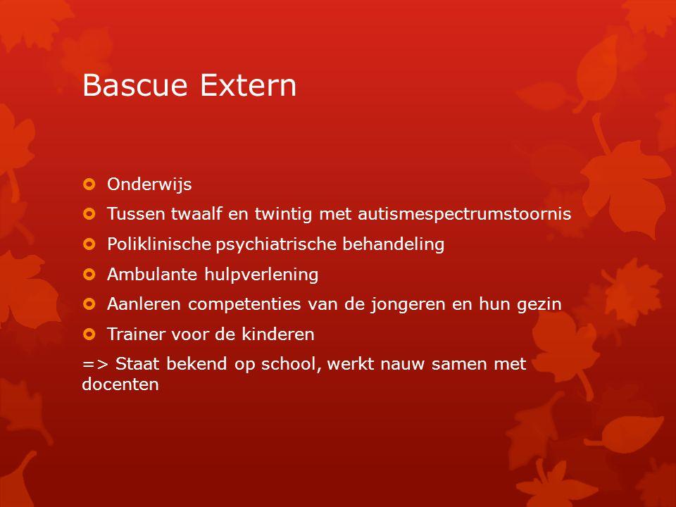 Bascue Extern  Onderwijs  Tussen twaalf en twintig met autismespectrumstoornis  Poliklinische psychiatrische behandeling  Ambulante hulpverlening