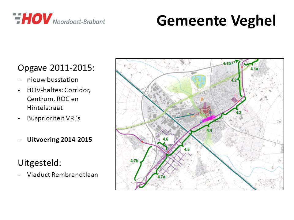 Gemeente Veghel Opgave 2011-2015: -nieuw busstation -HOV-haltes: Corridor, Centrum, ROC en Hintelstraat -Busprioriteit VRI's -Uitvoering 2014-2015 Uit