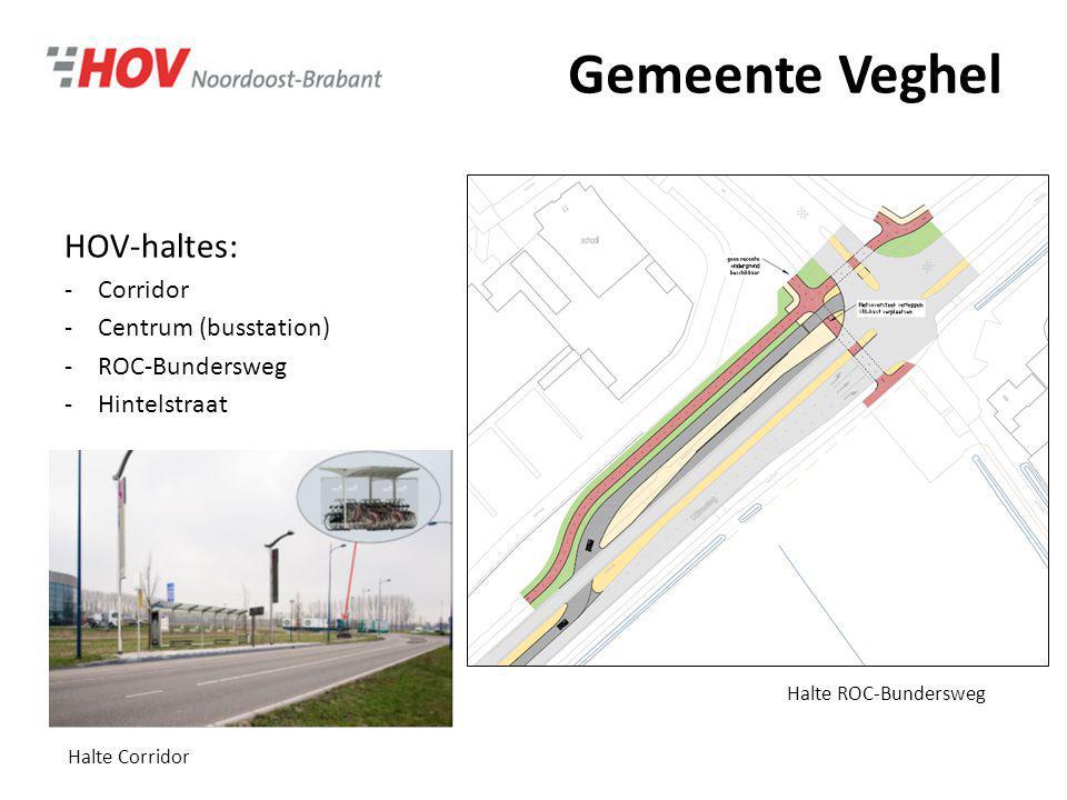 Gemeente Veghel HOV-haltes: -Corridor -Centrum (busstation) -ROC-Bundersweg -Hintelstraat Halte ROC-Bundersweg Halte Corridor