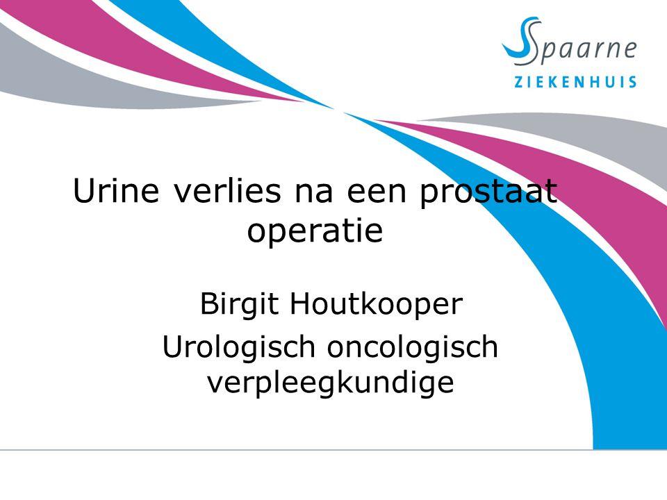 Urine verlies na een prostaat operatie Birgit Houtkooper Urologisch oncologisch verpleegkundige 23-9-2014urine verlies na een prostaat operatie 1
