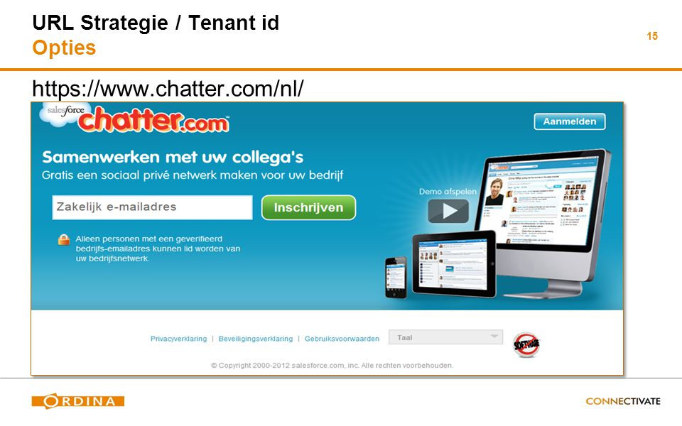 15 URL Strategie / Tenant id Opties https://www.chatter.com/nl/