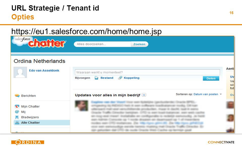 16 URL Strategie / Tenant id Opties https://eu1.salesforce.com/home/home.jsp