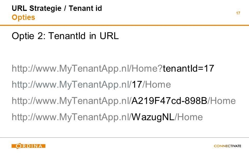 17 URL Strategie / Tenant id Opties Optie 2: TenantId in URL http://www.MyTenantApp.nl/Home?tenantId=17 http://www.MyTenantApp.nl/17/Home http://www.M