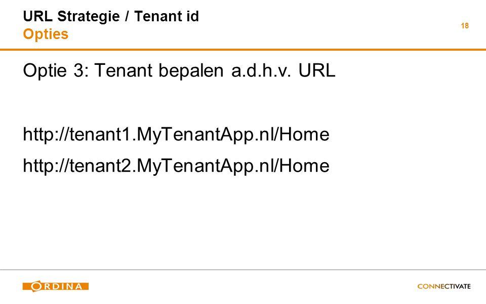 18 URL Strategie / Tenant id Opties Optie 3: Tenant bepalen a.d.h.v. URL http://tenant1.MyTenantApp.nl/Home http://tenant2.MyTenantApp.nl/Home