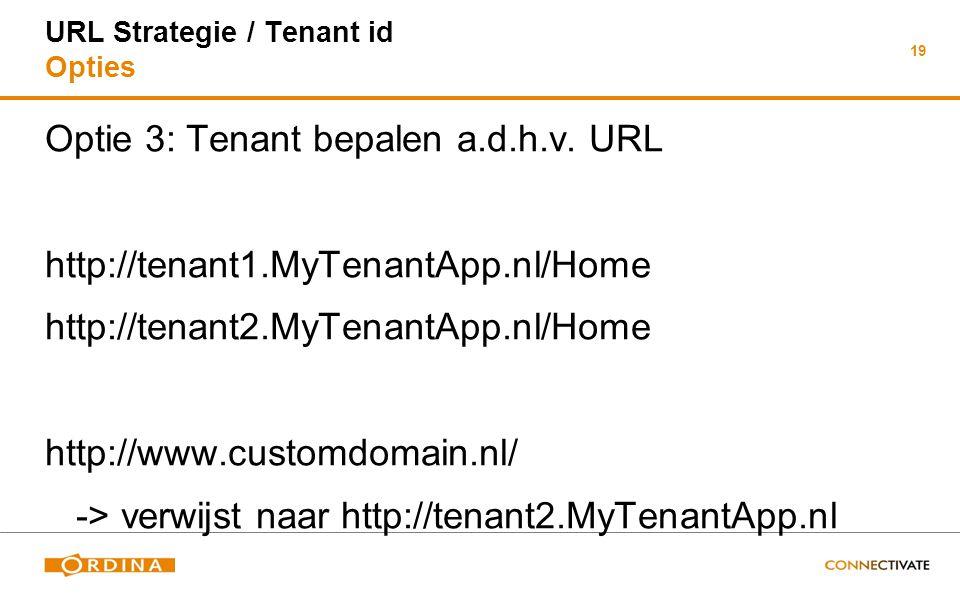 19 URL Strategie / Tenant id Opties Optie 3: Tenant bepalen a.d.h.v. URL http://tenant1.MyTenantApp.nl/Home http://tenant2.MyTenantApp.nl/Home http://