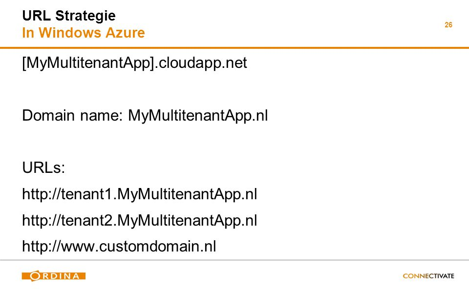 26 URL Strategie In Windows Azure [MyMultitenantApp].cloudapp.net Domain name: MyMultitenantApp.nl URLs: http://tenant1.MyMultitenantApp.nl http://ten