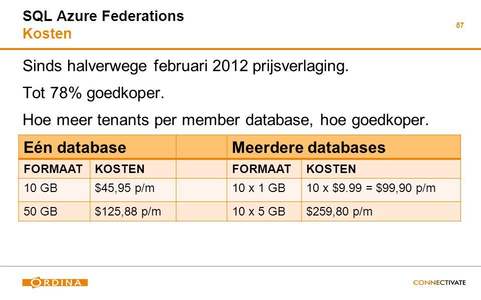57 SQL Azure Federations Kosten Sinds halverwege februari 2012 prijsverlaging. Tot 78% goedkoper. Hoe meer tenants per member database, hoe goedkoper.