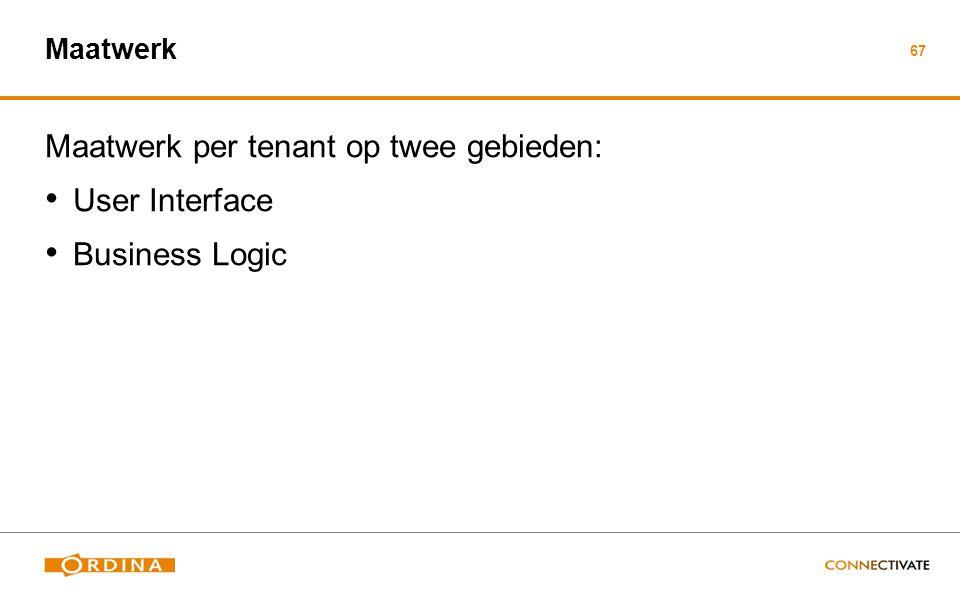 67 Maatwerk Maatwerk per tenant op twee gebieden: User Interface Business Logic